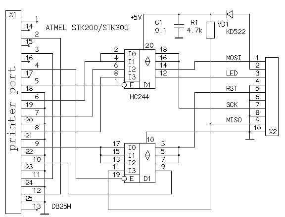 Подскажите в схеме программатор LED-это ХТЛ1 а RST ресет.