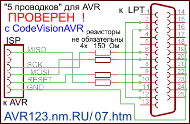 Берёшь разъём DB-25 папа, припаиваешь пять проводков и получаешь. http://www.123avr.com/07.htm. на схеме присутствует...